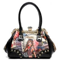 NX Fashion Girl Printed Rhinestone Frame Satchel [1P2628D-BLACK]