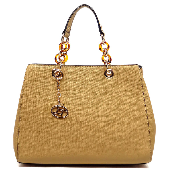 Amber Chain Top Handle Satchel [T1652-TAN]