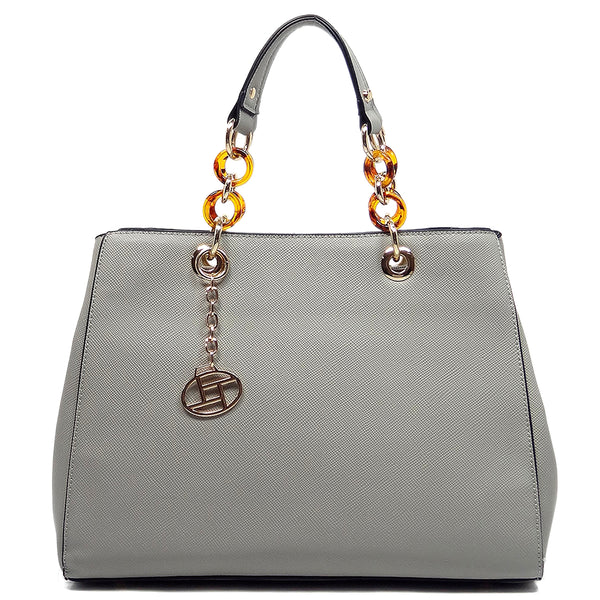 Amber Chain Top Handle Satchel [T1652-GREY]