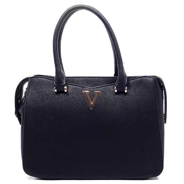 V Accented Top Handle Satchel [MY8765-BLACK]