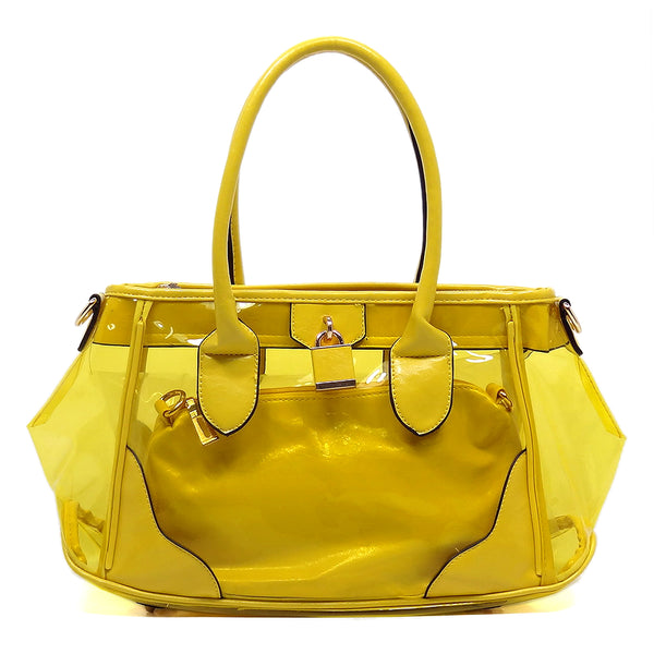 Padlock See Thru 2-in-1 Satchel [L7231MI-YELLOW]