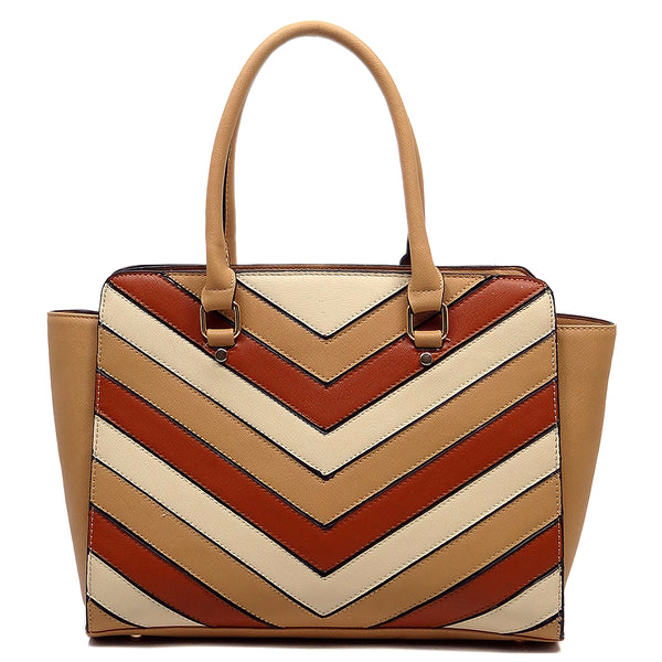 Chevron Patchwork Top Handle Satchel [LF1689-TAUPE]