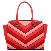 Chevron Patchwork Top Handle Satchel [LF1689-L/RED]