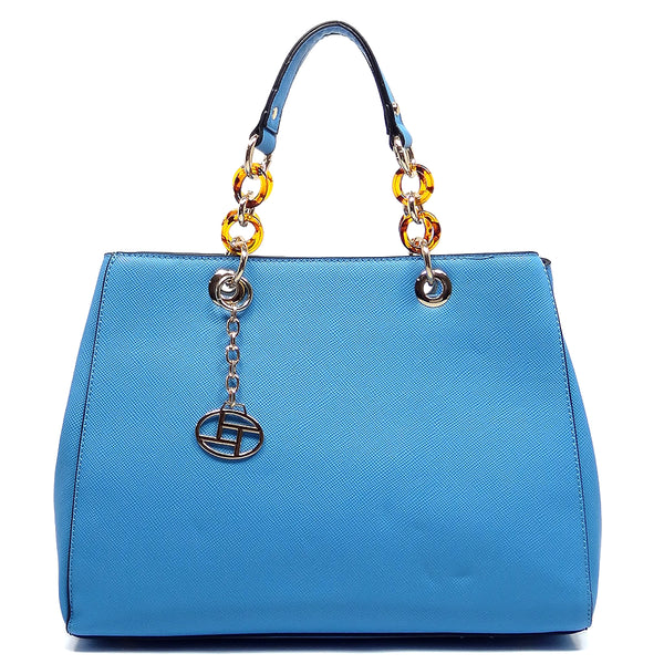 Amber Chain Top Handle Satchel [T1652-BLUE]