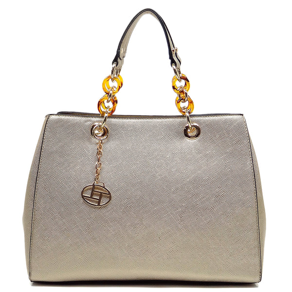 Amber Chain Top Handle Satchel [T1652-GOLD]