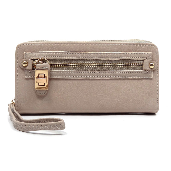 Twist Lock Zip Around Clutch Wallet [SPW1155-BEIGE]