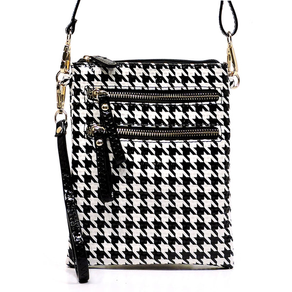 Glossy Houndtooth Wristlet Hipster Cross Body Bag [H002-BLACK]