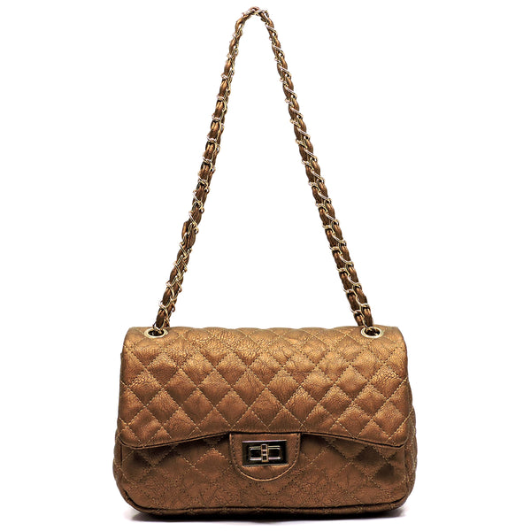 Classic Quilted Twist Lock Shoulder Bag [F338EL-BRONZE]