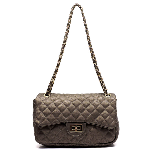 Classic Quilted Twist Lock Shoulder Bag [F338EL-SILVER]