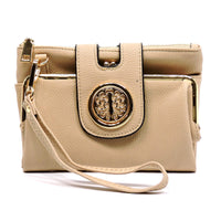 Fashion Logo Bifold Kiss Lock Clutch Hipster Cross Body Bag [81187-TAUPE]