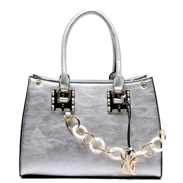 Acrylic Chain Top Handle Box Satchel [AJ136-SILVER]