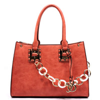 Acrylic Chain Top Handle Box Satchel [AJ136-COR]