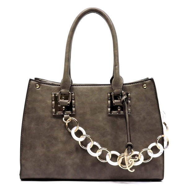 Acrylic Chain Top Handle Box Satchel [AJ136-TAUPE]