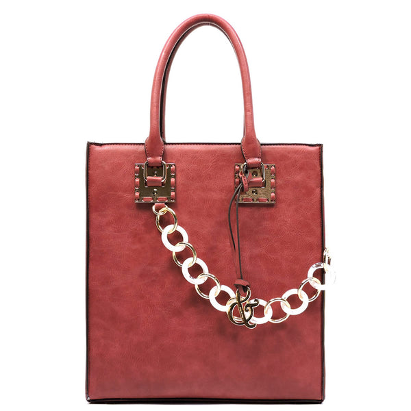 Acrylic Chain Top Handle Box Satchel [AJ138-BURGUNDY]