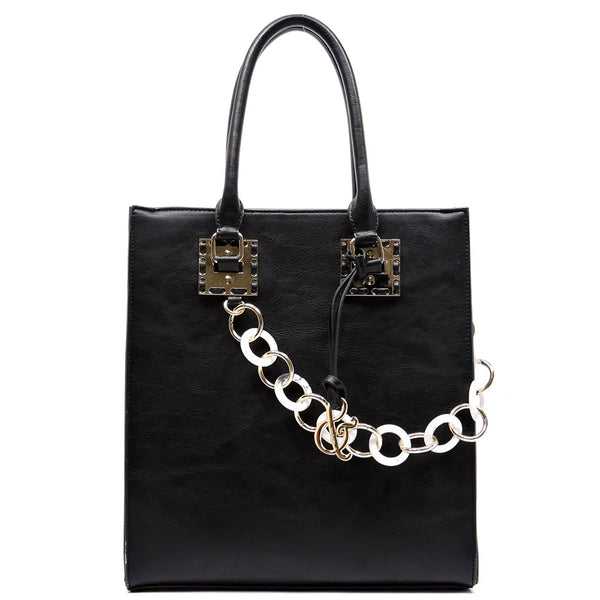 Acrylic Chain Top Handle Box Satchel [AJ138-BLACK]