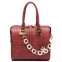 Acrylic Chain Top Handle Day Satchel [AJ137-BURGUNDY]