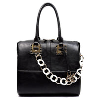 Acrylic Chain Top Handle Day Satchel [AJ137-BLACK]