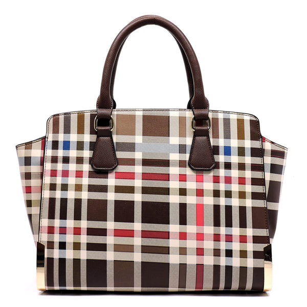 Check Pattern Top Handle Satchel [TP2574-BROWN]