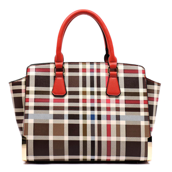 Check Pattern Top Handle Satchel [TP2574-RED]