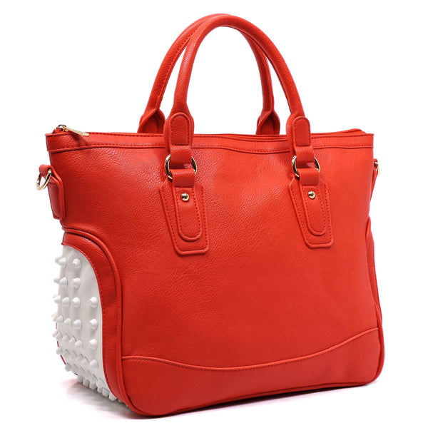 Side Studded Top Handle Satchel [NP2569-RED]