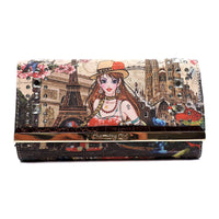 Charming Girl Printed Trifold Wallet [3F034C-BROWN]