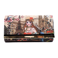 Charming Girl Printed Trifold Wallet [3F034C-BLACK]