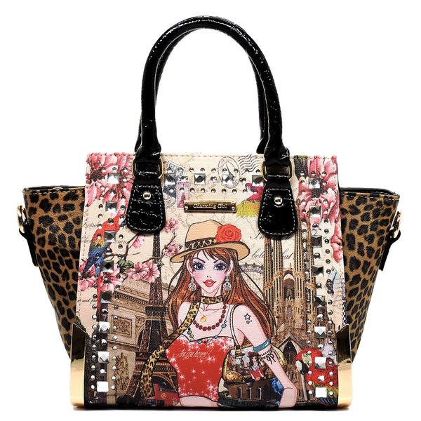 Charming Girl Printed Leopard Top Handle Satchel [3F2634C-BLACK]
