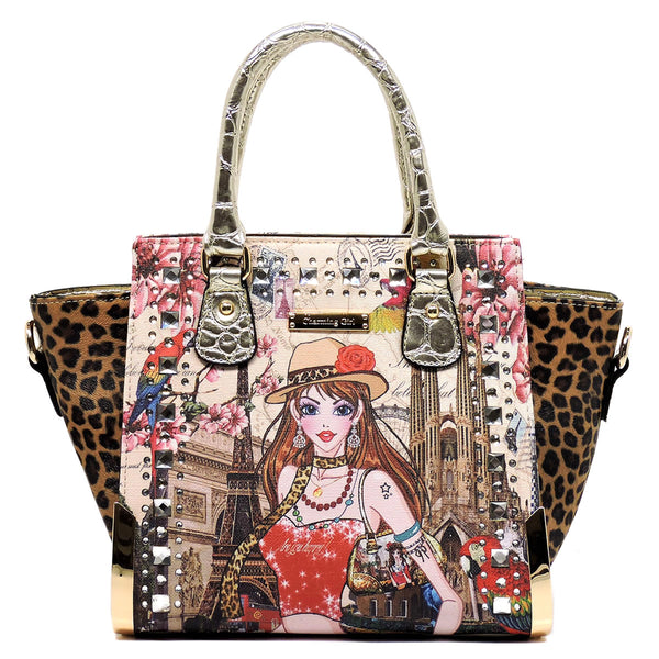 Charming Girl Printed Leopard Top Handle Satchel [3F2634C-GOLD]