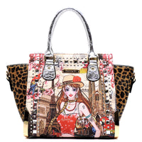 Charming Girl Printed Leopard Top Handle Satchel [3F2634C-SILVER]