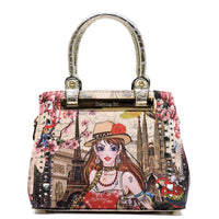 Charming Girl Printed Leopard Day Satchel [3F2623C-GOLD]