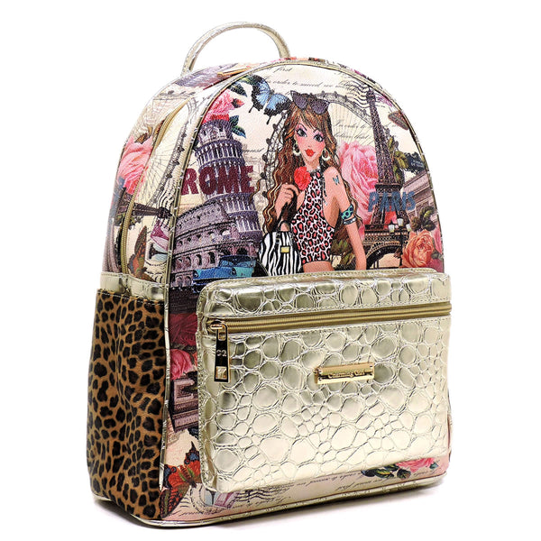 Charming Girl Printed Croc Backpack [1P2467S-GOLD]