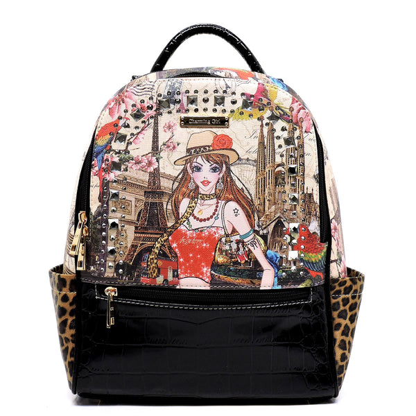 Charming Girl Printed Croc Rhinestone Backpack [3F2635C-BLACK]