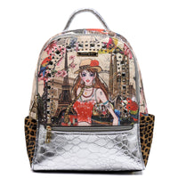 Charming Girl Printed Croc Rhinestone Backpack [3F2635C-SILVER]