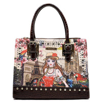 Charming Girl Printed Croc Rhinestone Box Satchel [3F2632C-BROWN]