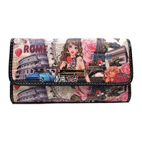 Charming Girl Printed Checkbook Wallet [1P018CD-BLACK]