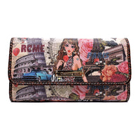 Charming Girl Printed Checkbook Wallet [1P018CD-BROWN]