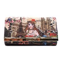 Charming Girl Printed Trifold Wallet [3F034C-GOLD]