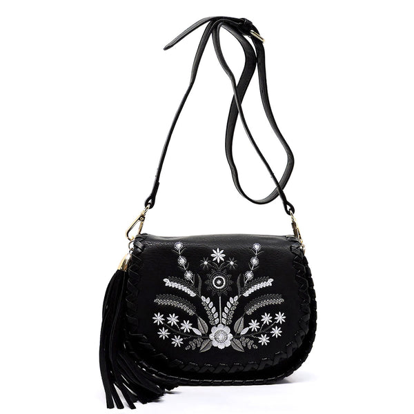 Embroidery Flower Print Flap Cross Body Bag [FL1128-BLACK]
