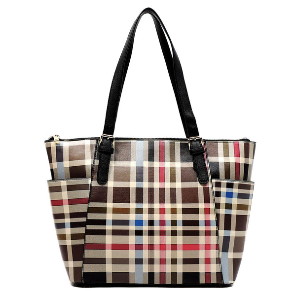 Check Pattern Shopper Tote Bag [TP2430-BLACK]