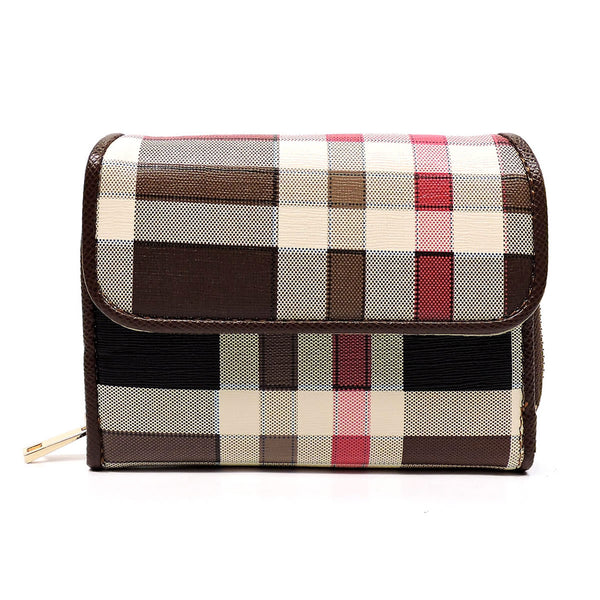Check Pattern Trifold Wallet [TP407-BROWN]