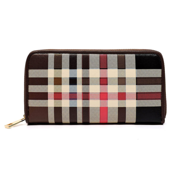 Check Pattern Zip Around Clutch Wallet [TP023-BROWN]