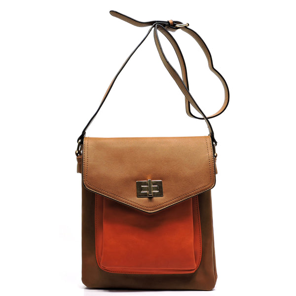 Colorblock Twist Lock Cross Body Bag [MJ0001-BROWN]