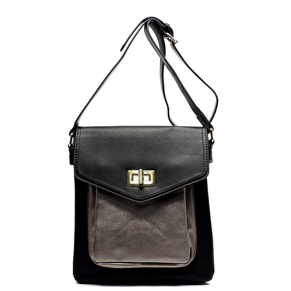 Colorblock Twist Lock Cross Body Bag [MJ0001-BLACK]