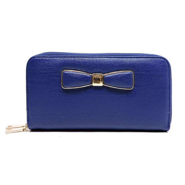 Fashion Bow Double Zip Around Wallet Wristlet [WT6020W-BLUE]