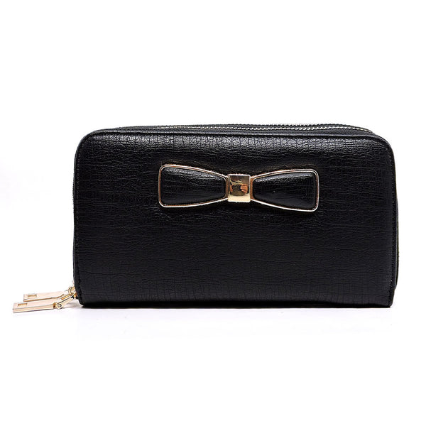 Fashion Bow Double Zip Around Wallet Wristlet [WT6020W-BLACK]