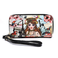 Charming Girl Zip Around Clutch Wallet Wristlet [4C028-BLACK]