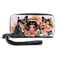 Charming Girl Zip Around Clutch Wallet Wristlet [2L028-BLACK]