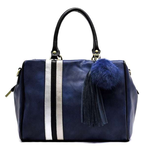 Colorblock Stripe Pom Tassel Boston Satchel [D0333-BLUE]