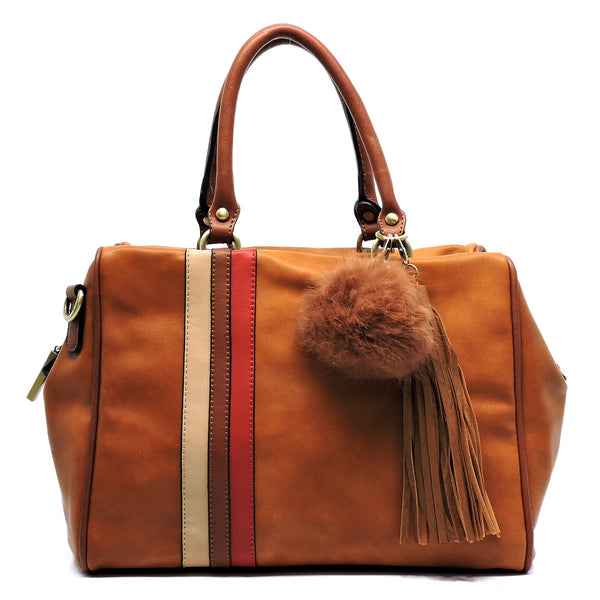 Colorblock Stripe Pom Tassel Boston Satchel [D0333-BROWN]