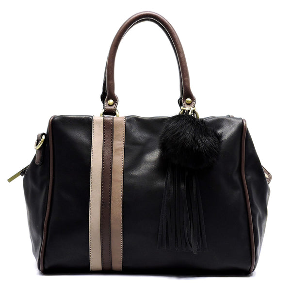 Colorblock Stripe Pom Tassel Boston Satchel [D0333-BLACK]